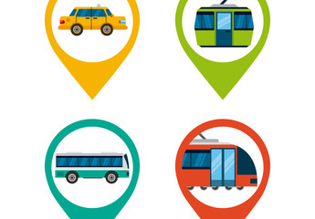 4 Transportation and Location Pin Icons