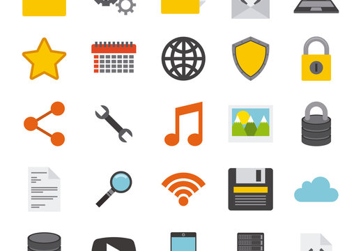 25 Retro Tech, Security, and Productivity Icons