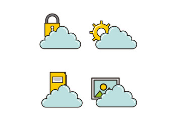 4 Cartoon Style Cloud Storage and Security Icons