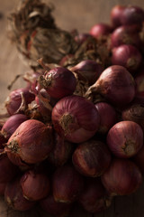 shallots still life wood background close up