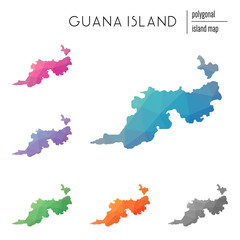 Set of vector polygonal Guana Island maps filled with bright gradient of low poly art. Multicolored island outline in geometric style for your infographics.