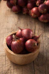 shallots still life wood background