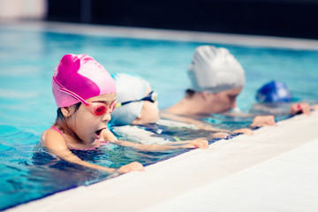 Children in a swim class