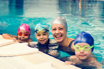 Group swimming lesson for children