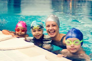 Group swimming lesson for children