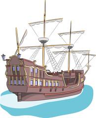 Vector. Sailing ship.