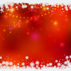 Christmas and New Year red blurred vector background with light effects
