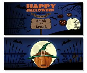Halloween design. Pumpkin in witches hat. Halloween Jack-o'-lantern. Happy Halloween. Trick or treat. Vector illustration