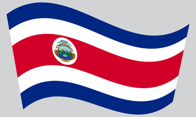 Flag of Costa Rica waving on gray background
