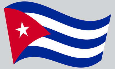Flag of Cuba waving on gray background