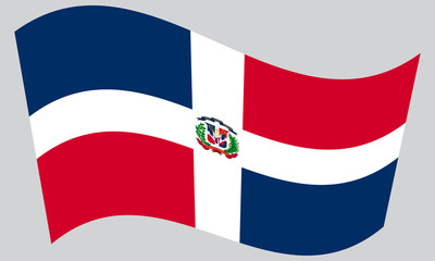 Dominican Republic flag waving on gray background