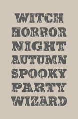 Halloween relative words and silhouettes on them. Unusual lettering collection