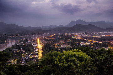 Night cityscape and twilight sky sunset in Laung Prabang Laos