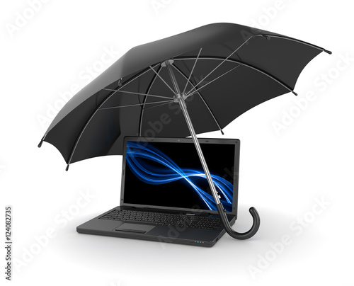 Black Umbrella Over Laptop Stock Photo And Royalty Free