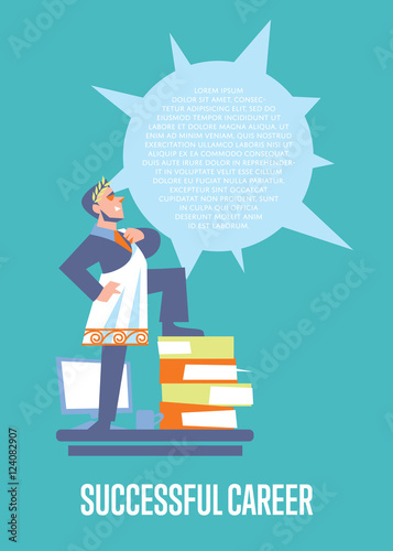 Perfect Employer Banner With Businessman In Roman Toga And Laurel Wreath Standing On Stack Of Folders