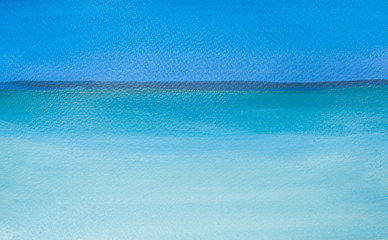 Acrylic painting of blue sea