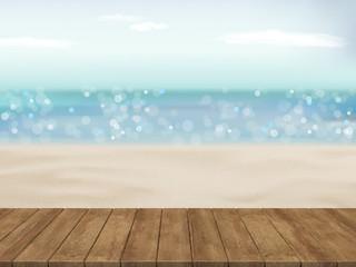 beautiful beach with wood plate