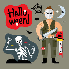 Vector Comic Crazy maniac. Halloween Scene Cartoon illustration