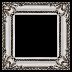 one square grey and silver wooden frame isolated on black