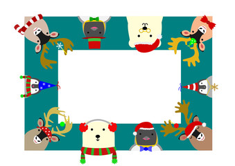 cute arctic animals rectangle frame