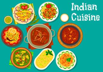 Indian cuisine spicy dinner with dessert icon