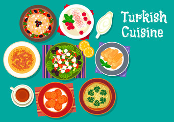 Turkish cuisine traditional dishes icon