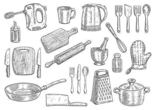 Kitchen utensils and appliances isolated sketches