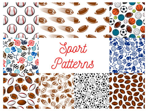 Sporting items, game equipment seamless patterns