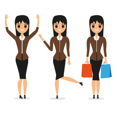 set of cute girls. Purchases. Joy. Business suit. Fashion. For your design.