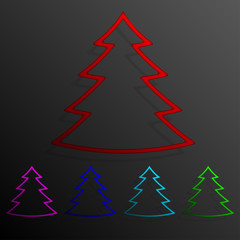 Color set tree banners frame template for design.