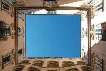 "the courtryard of the baroque palace ""dello Spagnolo"", in the Sanità quarter, Naples, Italy"