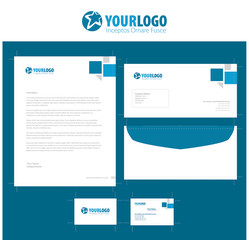 Corporate stationery template design with elements