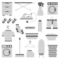 Vector flat laundry room objects