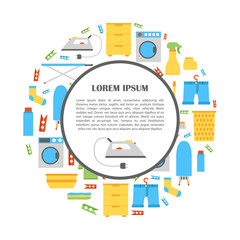 Vector flat laundry room background
