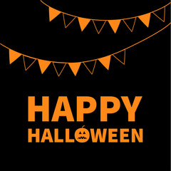 Triangle paper flags. Happy Halloween Lettering text banner with sad orange pumpkin silhouette. Colorful flag set hanging on rope. Party time. Greeting card. Flat design. Black baby background