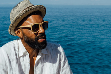 Afro-american bearded man in sunglasses