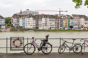 BASEL, SWITZERLAND - JUNE 6: Bikes near the river on June 6, 2015 in Basel, Switzerland.