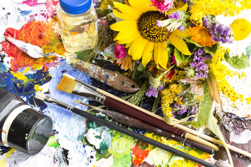 Palette with Painting Material and a Bouquet of Summer Flowers