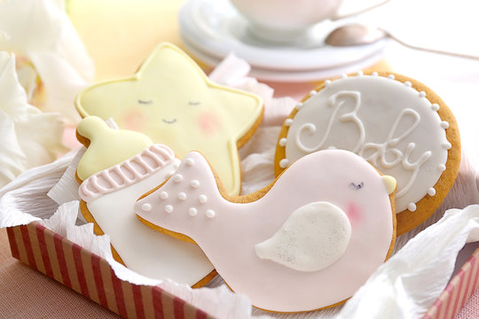 Delicious baby shower cookies, closeup