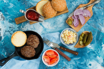 Ingredients for homemade tasty burgers. Top view