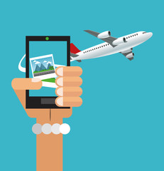 Smartphone pictures and airplane icon. Travel trip vacation and tourism theme. Colorful design. Vector illustration
