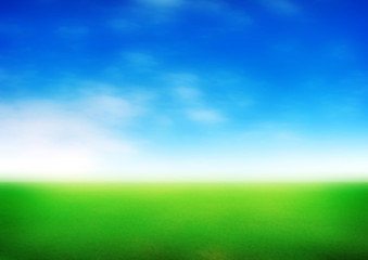 blurred meadow with blue sky background