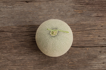 Top of  melons isolated on wooden