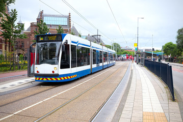 Surface tramway in Amsterdam, Netherlands