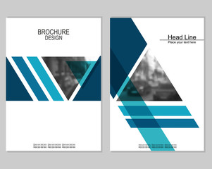 Vector brochure cover templates with blurred cityscape. EPS 10. Mesh background.