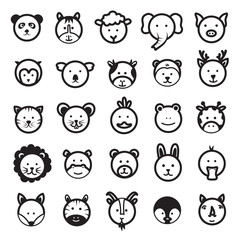 Cute Animal Faces Vector Set