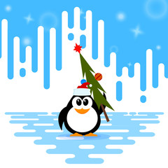 Vector illustration of a cute little penguin in the cap of Santa