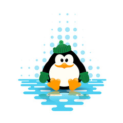 Vector illustration of a cute little penguin in a green hat and