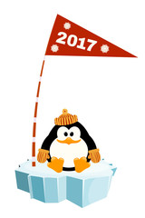 Vector illustration of a little penguin wearing a hat and mitten