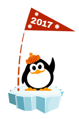 Vector illustration of a little penguin wearing a hat on the ice